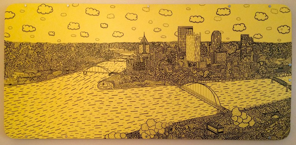 "Courtesy of Brad Bianchi 27""x57"" Pittsburgh skyline on display in the mayor's office"